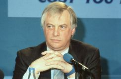 Rt.Hon. Christopher Patten. Chairman of the Conservative party, attends a press conference in London, England on April 10, 1991. In July 1992 he became the stock image