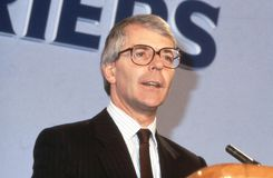 Rt.Hon. John Major. John Major, British Prime Minister and Conservative party Leader, speaks at a party conference in London, England on June 27, 1991. He was Royalty Free Stock Image