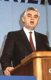 Rt.Hon. Norman Lamont. Chancellor of The Exchequer and Conservative party Member of Parliament for Kingston-Upon-Thames, speaks at a party conference in London Royalty Free Stock Photo