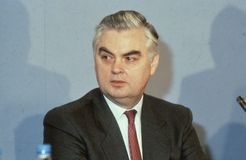 Rt.Hon. Norman Lamont. Chancellor of The Exchequer and Conservative party Member of Parliament for Kingston-Upon-Thames, attends a party conference in London Stock Photo