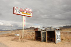 Rt 66 Outpost. Abandoned outpost on historic Rt 66 in the desert on a cloudy day Stock Photography