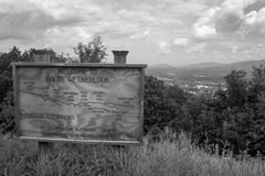 RT 42 overlook in Craig County, Virginia. Blake and white image of the overlook from Sinking Creek Mountain, Craig County Virginia with the town of New Castle in royalty free stock images