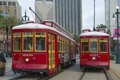 RTA Streetcar Canal Line in New Orleans Royalty Free Stock Images