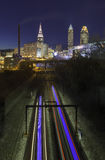 The RTA sweeps through the Cleveland skyline Royalty Free Stock Photography