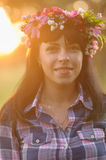 Rtait of woman with flower crown Stock Photography
