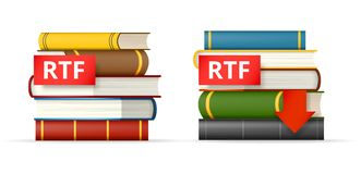 RTF books stacks  icons. RTF book format icons, stack of books and download button, vector illustration Royalty Free Stock Images