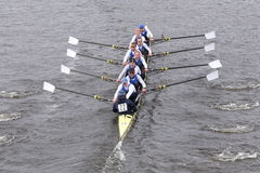 RTHC Bayer Leverkusen races in the Head of Charles Regatta Men's Master Eights Royalty Free Stock Image