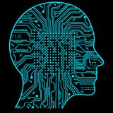 Rtificial Intelligence. The image of human head outlines, inside of which there is an abstract circuit board. Artificial Intelligence. The image of human head Stock Photography