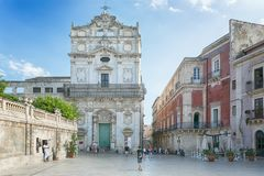 Rtigia in Syracuse. Travel Photography from Syracuse, Italy on the island of Sicily. Cathedral Plaza. Large open Square at sun day Royalty Free Stock Images