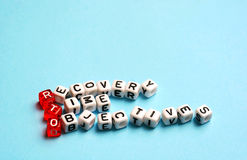 RTO Recovery Time Objectives cubes Stock Image