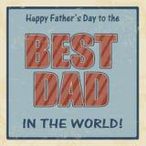Affiche heureuse de jour de pères rétro Images stock