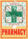 Rétro affiche grunge typographique de pharmacie Illustration de vecteur Photo stock
