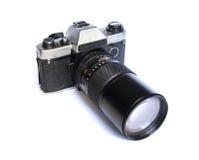 Rétro appareil-photo soviétique de film sur le fond blanc Photos libres de droits
