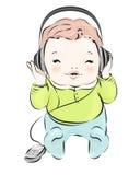Rétro bébé dans des écouteurs Photographie stock libre de droits