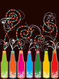 Rétro bouteilles colorées d'an neuf de bruit Image stock