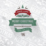 Rétro carte grise de salutation simple rouge foncé verte de Joyeux Noël de vintage Photos stock