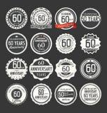 Rétro collection d'insigne d'anniversaire, 60 ans Image libre de droits