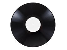 Rétro disque d'audio de vinyle avec des éraflures, d'isolement sur le fond blanc Images libres de droits