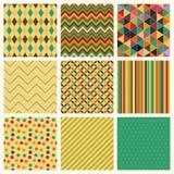 Rétro ensemble géométrique sans couture de fond de hippie. Images libres de droits