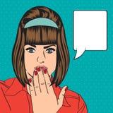 Rétro femme mignonne dans le style de bandes dessinées Photo stock