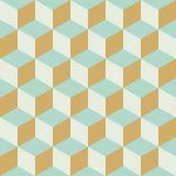 Rétro fond à carreaux sans couture abstrait de modèle de couleur de bloc de cube Image libre de droits