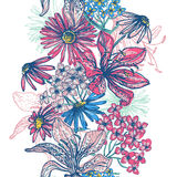 Rétro frontière sans couture florale tendre Photos libres de droits