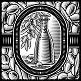 Rétro huile d'olive noire et blanche Image libre de droits