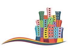 Rétro illustration de vecteur de ville Photographie stock