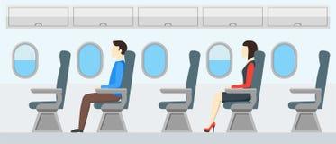 Rétro intérieur de transport d'avion Passagers de voyage dans le jet Vecteur Photos libres de droits