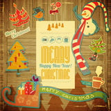 Rétro Joyeux Noël et nouvelles années de carte Photo stock