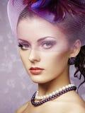 Rétro portrait de belle femme. Style de vintage Photographie stock