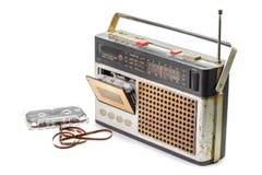 Rétro radio avec l'enregistreur à cassettes Images stock