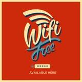 Rétro style de symbole gratuit de wifi Images libres de droits