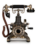 Rétro téléphone - téléphone de cru sur le fond blanc Photo libre de droits