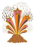 Rétro étoiles, pistes, feu d'artifice Image stock