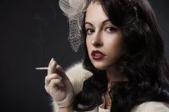 Rétro verticale de femme Photographie stock
