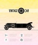 Rétro voiture de cabriolet de limousine, contour de vintage Photographie stock libre de droits
