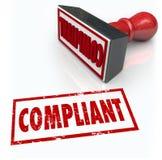 Rétroaction d'estimation d'audit de Word de timbre de conformité Image stock
