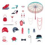 Rétros accessoires personnels, icônes et objets de Image libre de droits
