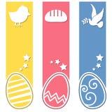 Rétros bannières de verticale d'oeufs de Pâques Image libre de droits