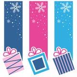 Rétros bannières de verticale de cadeaux de Noël Images stock