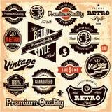 Rétros labels. Le vintage marque la collection. Images libres de droits