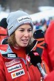 RTS TV que hace entrevista con Gissin Michelle de Suisse durante el eslalom gigante de Audi FIS el Ski World Cup Women alpino fotos de archivo libres de regalías