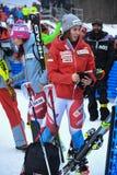 RTS TV que hace entrevista con Gissin Michelle de Suisse durante el eslalom gigante de Audi FIS el Ski World Cup Women alpino foto de archivo