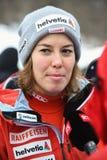 RTS TV que hace entrevista con Gissin Michelle de Suisse durante el eslalom gigante de Audi FIS el Ski World Cup Women alpino imágenes de archivo libres de regalías