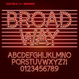 Rött alfabet Broadway för ljus kula och siffravektor Royaltyfri Bild