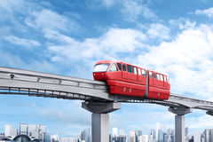 Rött enskenig järnvägdrev Royaltyfri Foto