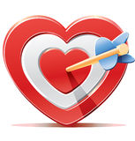 Rött hjärtamålsyfte med pilen Arkivfoton