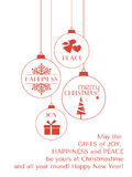 Rött jultypografikort med hängande prydnader Royaltyfri Fotografi