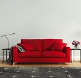 Rött lyxigt sovrum med filten Arkivbilder